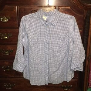 Blue and white plaid women's button down size 1X